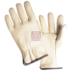 West Chester 990/M Drivers Gloves Medium, Leather, Natural, Shirred Elastic Wrist, Unlined
