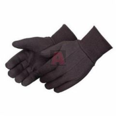Mens 100% Cotton Heavy Weight Brown Jersey Gloves with Knit Wrist, Clute Pattern
