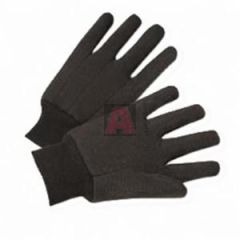 Mens Brown Jersey Gloves with Plastic Dots On One Side and Knit Wrist