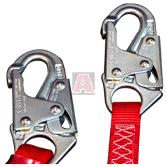 Protecta 1341001 Shock Absorbing Lanyard with Snaps on End, 1 Inch W Strap, 6 ft L Working, 310 lb Load, Polyester/Nylon, Red, 7500 lb Tensile