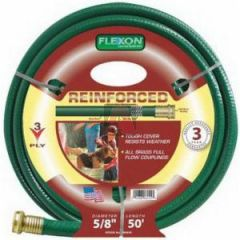 """5/8"""" X 50' Garden Hose 3-Ply Tire Cord, Nylon Reinforced, Solid Brass Couplings"""